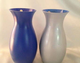 BLEIKRISTALL 24% Lead Crystal Cobalt Blue and Gray Vase Set,German Cobalt Blue Vase