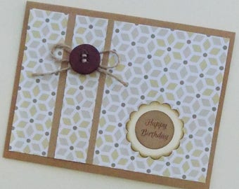 Homemade Birthday Card, Happy Birthday Card, Homemade Card, Brown Birthday Card, Friend, Sister, Neighbor, Card for Her, Card for Him