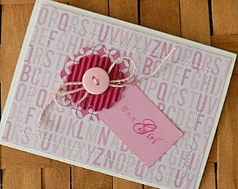 Homemade Baby Girl Card, Baby Card, Its a Girl Card, Baby Girl Congratulations, New Baby, New Addition, New Parents, Welcome Baby, Baby Girl