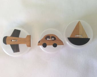 Wood, hand painted novelty buttons - Car, Boat, Plane