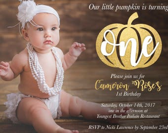 Our Little Pumpkin Is Turning One / Baby's First Birthday / Fall Baby / Fall Birthday / Gold / Rustic