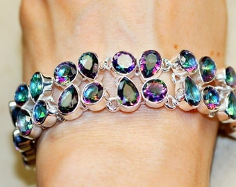 Amazing Faceted Mystic Topaz set in Solid 925 Sterling Silver Bracelet by Silver Trend