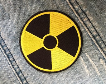 Nuclear Radioactive Yellow Black Round Logo Sew or IRON ON PATCHES Bag Hat Clothing Patch Applique Embroidered Diy
