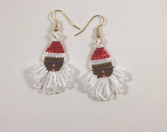 Black Santa Earrings, Beaded Santa Jewelry, Christmas Earrings, Holiday Jewelry, Santa Claus of Color