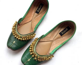 Indian Deep Green Leather Ballet Flats for Women with Gold Bells - Designer Women Shoes or Slippers/Maharaja Style Women Jooties