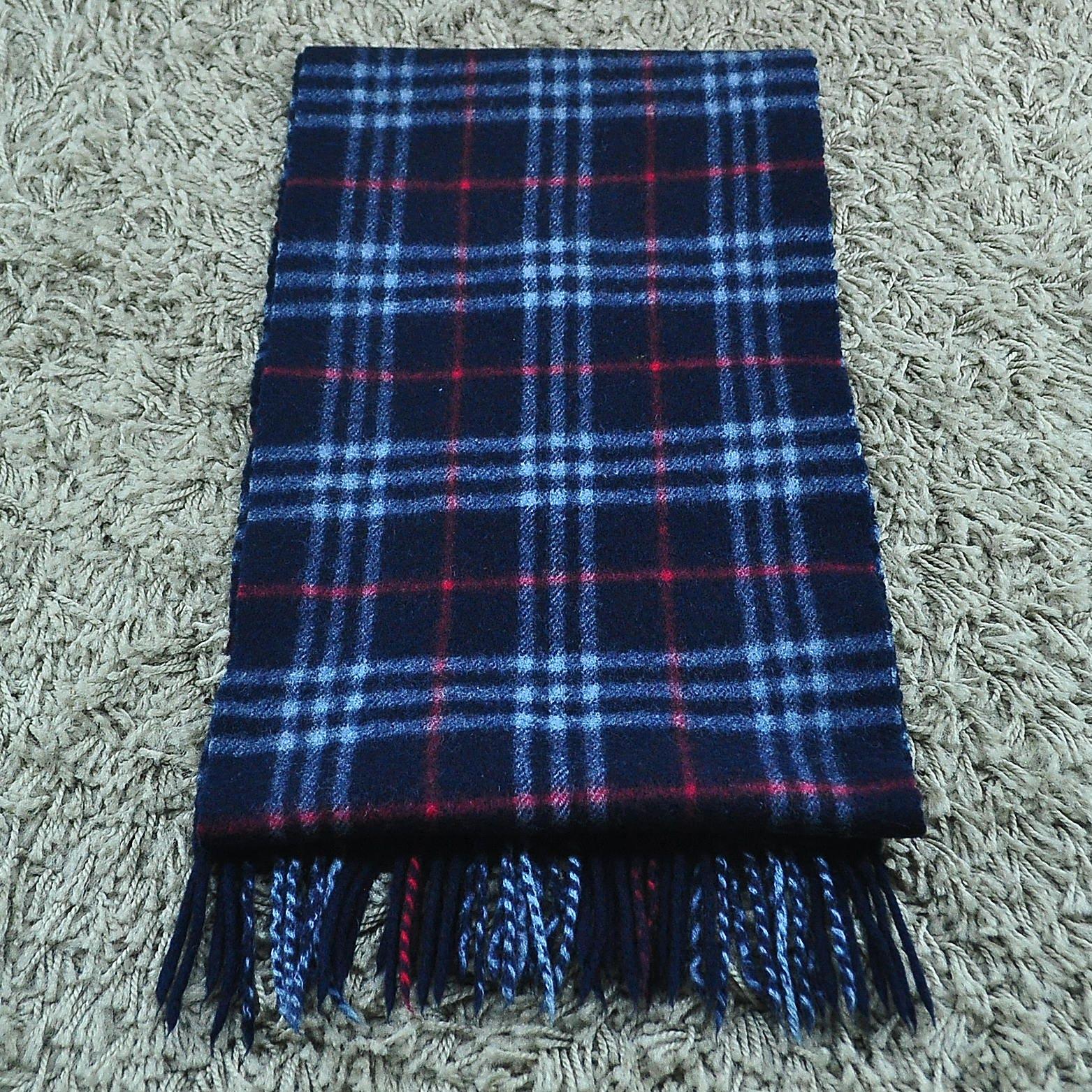 48664754927 ... australia authentic burberry scarf nova check plaid pattern navy blue  lambswool scarf muffler 25cd7 7605d