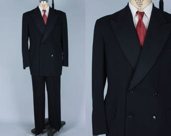 Vintage 1940s Men's Tuxedo | Dated 1946 Black Double Breasted Tuxedo with Wide Lapel | Size 42