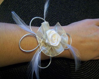 Bridal bracelet wedding wire aluminium flower organza ivory feather evening ceremony parties