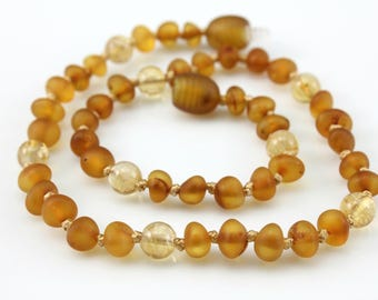 Certified Genuine Baltic Amber Teething Necklace - November Birthstone Necklace -Cognac Colored Amber - Citrine Gemstones - Birthstone Mix