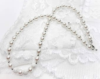 Swarovski Crystal Pearl and Sterling Silver Wedding Necklace Pearl with Silver Bridal Party Jewelry Bridesmaid Gift Mother of the Bride
