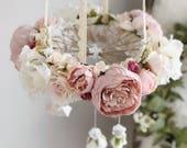 Mauve nursery flower mobile, floral crib mobile, baby girl mobile, baby mobile, floral chandelier, nursery mobile, crib mobile