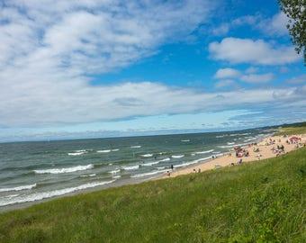 Landscape of Oval Beach Lake Michigan in Saugatuck Michigan Photograph Print 12 x 17