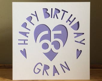 Gran Card, Personalised Birthday Card, 65th Birthday Card,Birthday Card,Card, Happy Birthday Card, Heart Card, Unique Personalised Card