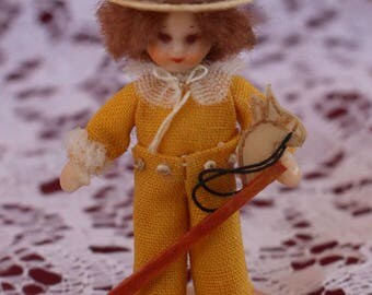 SOLD RARE Irma Park miniature Niada doll, Child with hop along horse  - 2 Inches ~  Fantastic Detail ! compo & wax High Detail Itty bitty!