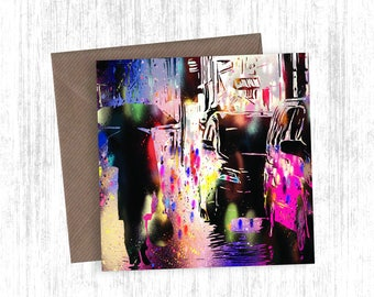 Japanese City Reflection Painting Artwork Card Set of 1, 3, 5, 10 or 20 - Holiday Cards - Christmas Cards - Greetings Cards