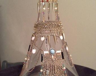 Boho embellished glass bottle
