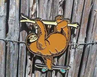 Sloth with Skateboard Enamel Pin