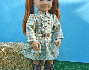 Woven Belt with Plaid Dress - 18 inch Doll Clothes