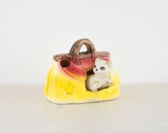 Cute Kitsch Cat Handbag - Ornament - Figurine - Vintage - 1960's
