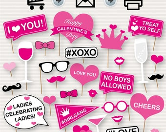 Galentine's Day Printable Photo Booth Props - Galentine's Day Party - DIY Galentine Photo Booth Props - Galentine's Party Photo Booth - DIY