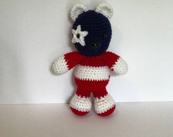 4th of july bear, teddy bear, handmade, crocheted, stuffed animal, holiday themed, red white and blue, nursery decor, kids toy