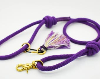 Pure Cotton Rope Dog Lead - Purlple - Dog Leash, Braided Cotton, Strong, Handmade, Unique