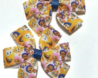 Bubble Guppies Hair clip, Bubble guppies pigtails, bubble guppies bow, Bubble guppies party, bubble guppies hair bows, hairbows for toddlers
