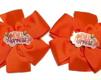 Fall Harvest Bow, Autumn Hair Bow, Thanksgiving Bow, Fall Bow, Orange Hair bow, Fall Harvest Hair bow, autumn Bow, Autumn Hair clip
