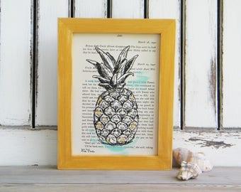 Ananas Kunst, Wörterbuch Druck, Ananas, Buchkunst, Tropischen Dekor,  Gerahmt,