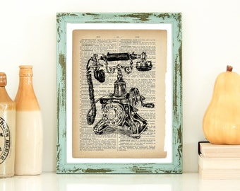 Dictionary Art, Antique Telephone Print, Kitchen Wall Decor, Country Home Decor, Rustic Home, Vintage Style Art, Instant Download