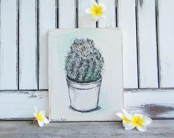 Botanical print, Cactus Print, Cactus Plant Wall Decor, Office Decor, Nature Art, Cactus Decor, Hipster Room Decor, Dorm Decor, Wood Signs