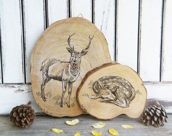 Gift For Mom, Woodland Animals, Stag Family Print, Deer Wood Picture, Rustic Wall Art, Country Home Decor, Wood Sign, Wood Slice Art