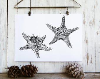 Starfish decor - printable for the home, Starfish poster, Nature print, Art print, Dorm decor, Gift under 10