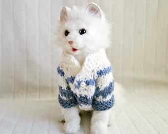 Blue white dog cat jacket Knit dog cat jackets Knit pet coats Dog coat warm jacket for dog small Dog winter coat Cat dog sweatshirt pullover