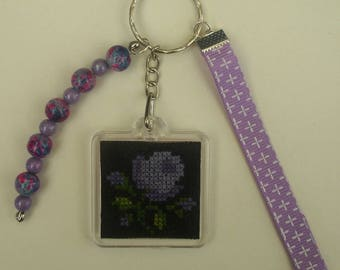 Ombre Rose mauve embroidered hand bag charm