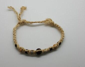 Beaded hemp anklet, bracelet  (HAN007)