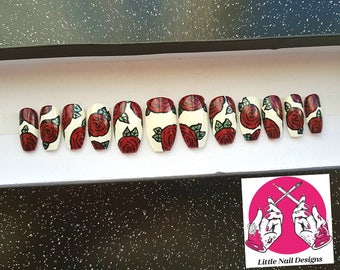 Stiletto Hand Painted Vintage Floral Roses False Nails | Gifts for her | Little Nail Designs