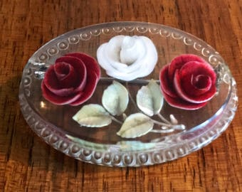 Vintage 1940's/1950's Reverse Carved Lucite Brooch Featuring Two Red Roses,One White Rose & Leaves.