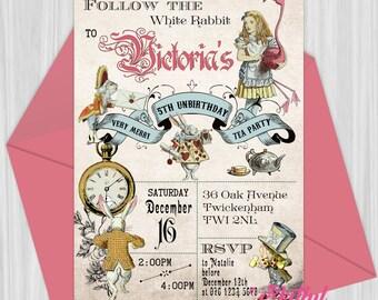 Printable Alice in Wonderland Tea Party Invitation