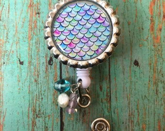 Mermaid Scale Retractable Badge Reel Lanyard Lab Week Nurse Teacher Gift