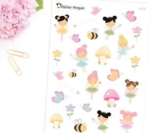 Garden Fairy stickers For Erin Condren Life Planner, EC Horizontal or any other Planner // Item #124