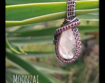 Copper and rutile quartz pendant