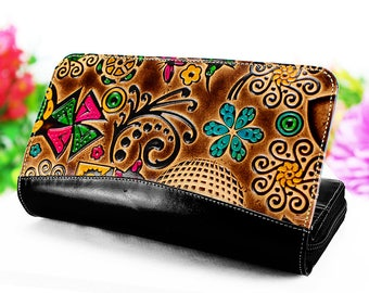 Wallet women, zipper wallet, clutch wallet, leather womens wallets embossed and handpainted with birds butterflys and flowers D