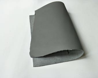"Leather Scrap, Genuine Leather, Leather Pieces, Grey, Size 8.25"" by 11.5""  Leather Scrap for DIY Projects."