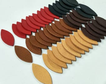 "Leather Leaves, 50 Pcs. (25 Pairs), 50mm.(2"") Long, Mixed Colors, Leaves Die Cut, Leaves Shape, Earing Accessories.Vegetable Tanned Leather."