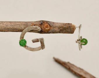 Silver monogram studs, sterling silver stud,  letter G earrings , initial earrings, green jade jewelry, personalized jewelry, custom jewelry