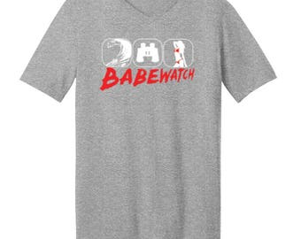 Babe Watch Waves,Binocular,Girl  - Men's V-neck