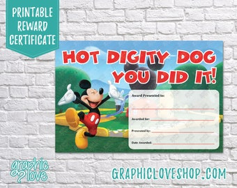 Printable 4x6 Mickey Mouse You Did It Certificate | Digital JPG File, Instant Download