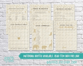 Printable Set of 6 Twinkle Little Star Gold Baby Shower Games & Advice for Mom Card | PDF, Instant Download, Ready to Print, NOT Editable