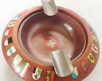 SWISS CANTON ASHTRAY, Vintage Swiss Ashtray, Switzerland Flags Souvenir, Swiss Tabletop Decor